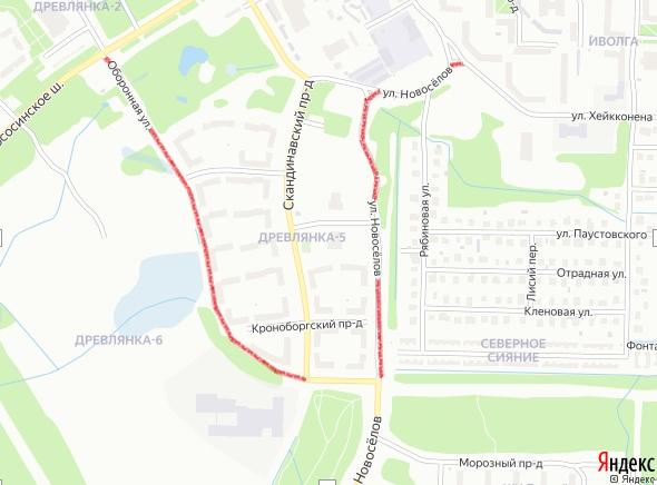Схема закрытия двух дорог в Петрозаводске