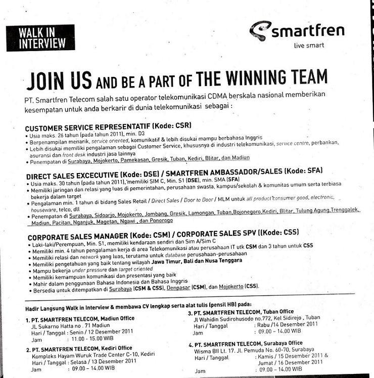Lamaran Kerja Spg Event Smartfren Docx Palembang 24 Juli 2018