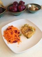 Porrefad med gulerodssalat