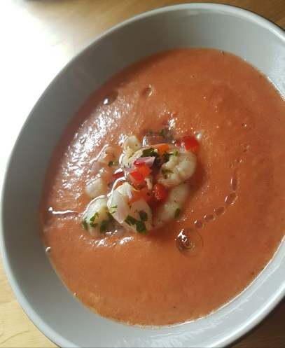 Gazpacho with Ceviche & Olive Oil