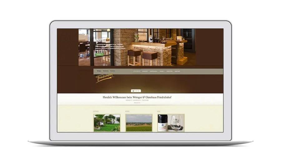 Webdesign für Gästehaus und Weingut Friedrichshof Billigheim Ingenheim in der Pfalz