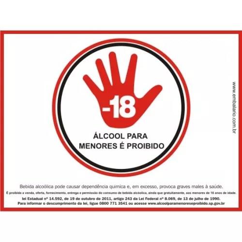 ADESIVO PROIBIDO ÁLCOOL PARA MENORES 21x30 c/ Impressão Digital c/ 5 unid 1