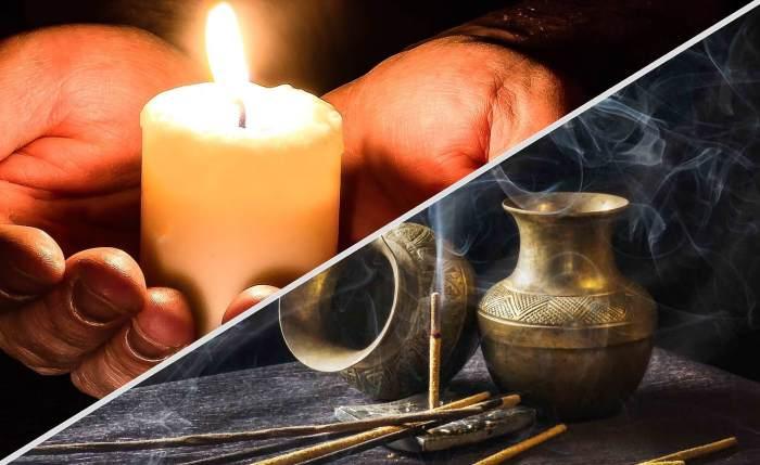 Guerisons spirituelles signe croix benediction bougie encens sel eau