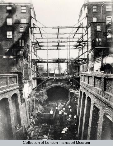 Pioneering excavation under residential houses during the construction of the Metropolitan Railway extension to South Kensington in 1866.