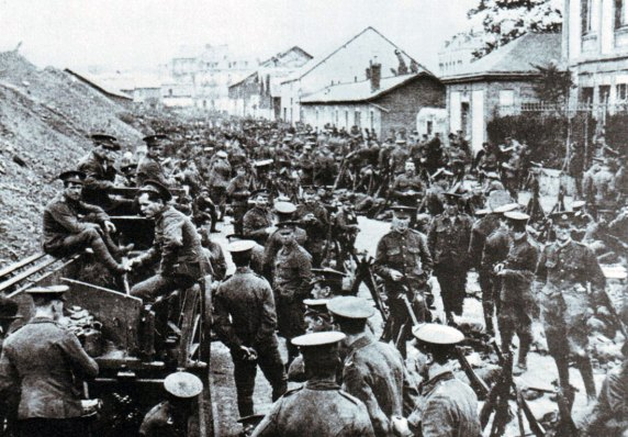 British infantry waiting to advance into the Mons area prior to the battle
