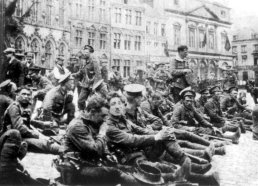 A Company, 4th Royal Fusiliers in the market square of Mons 22nd August 1914