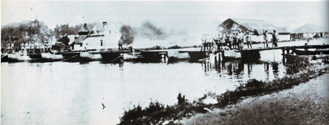 German pontoon bridge in place over the Mons Canal at Jemappes after the Battle of Mons