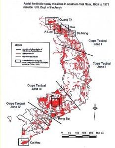 Carte: pulvérisation aérienne d'herbicides par l'armée américiane au Vietnam