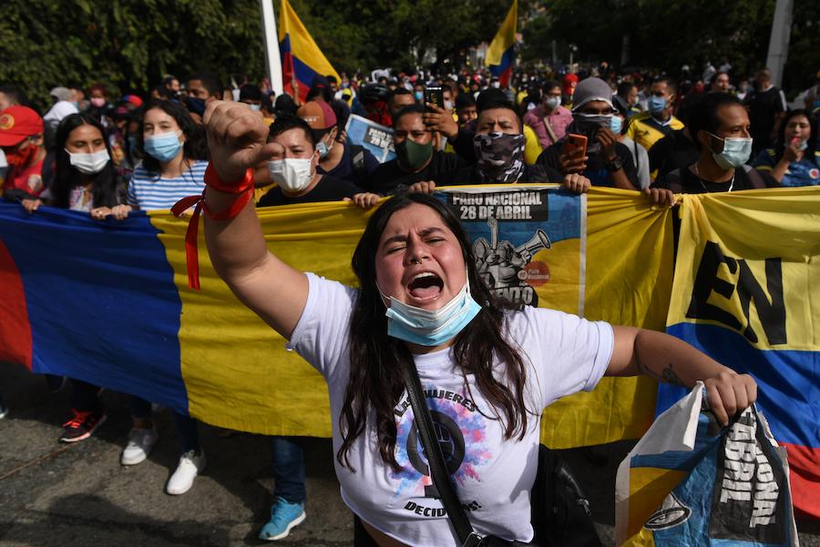 Cali - Le 28 avril 2021. - Grève nationale en Colombie contre la réforme fiscale du gouvernement d'Iván Duque