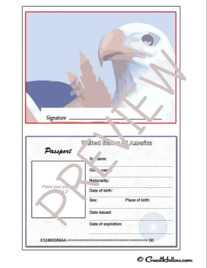 Printable pretend passport