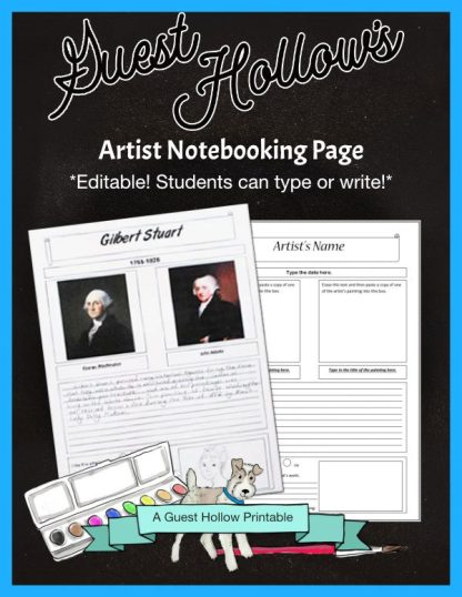 Artist Notebooking Page