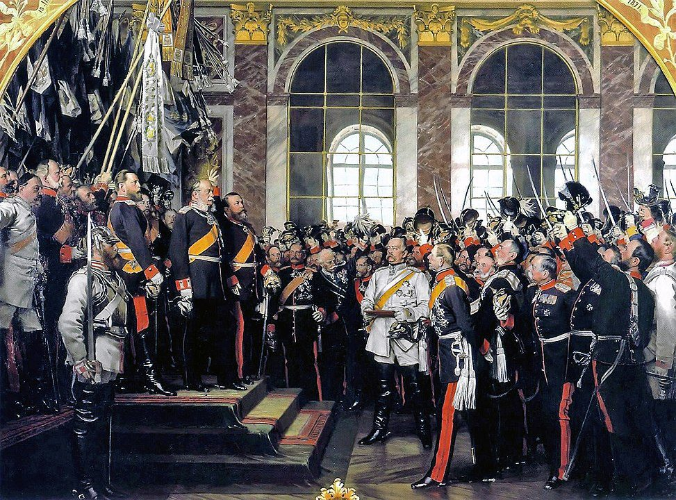Foundation of the German Empire in Versailles, 1871. Bismarck is at the center in a white uniform.