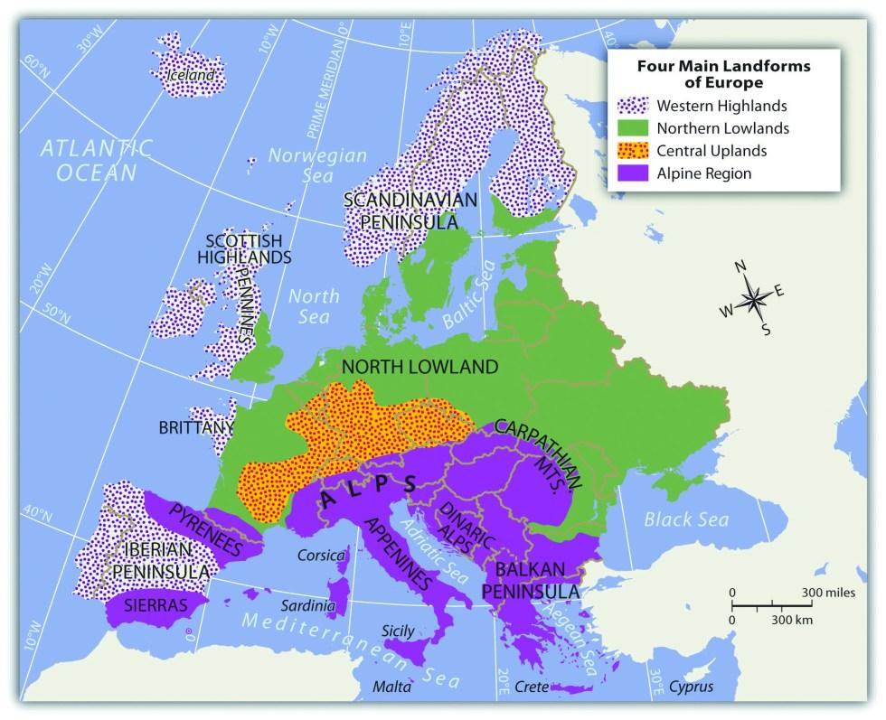 Europe's four main landforms