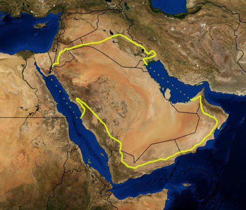 Map of the Arabian Desert