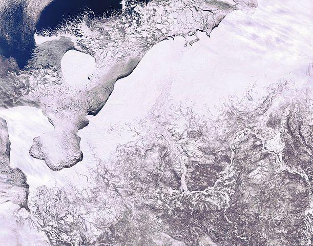 Icy Pechora Sea in Arctic Northwest Russia