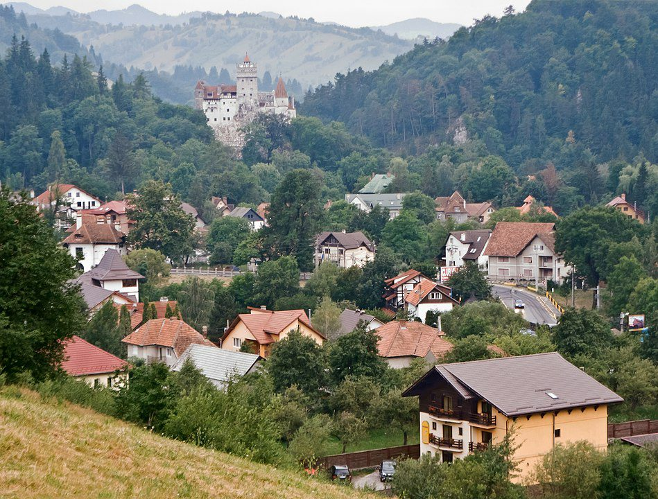 Bran, overlooked by Bran Castle, in Braşov County, Transylvania, Romania