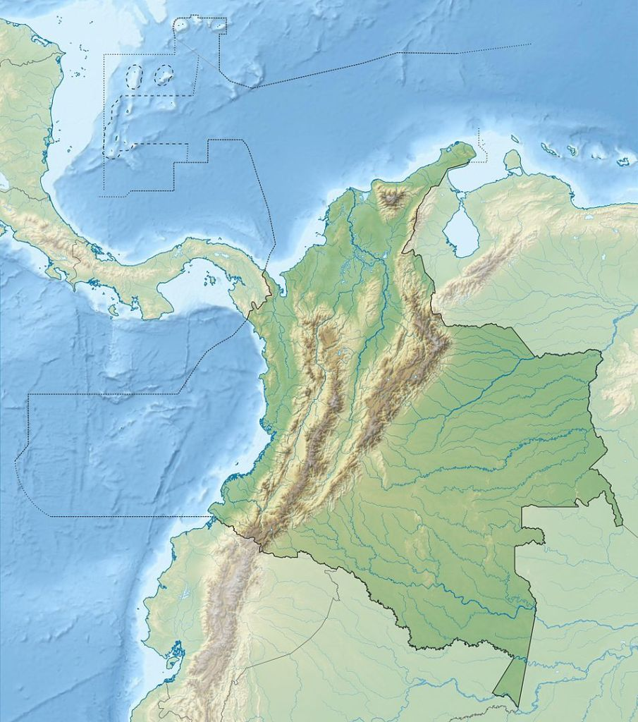 Relief map of Columbia