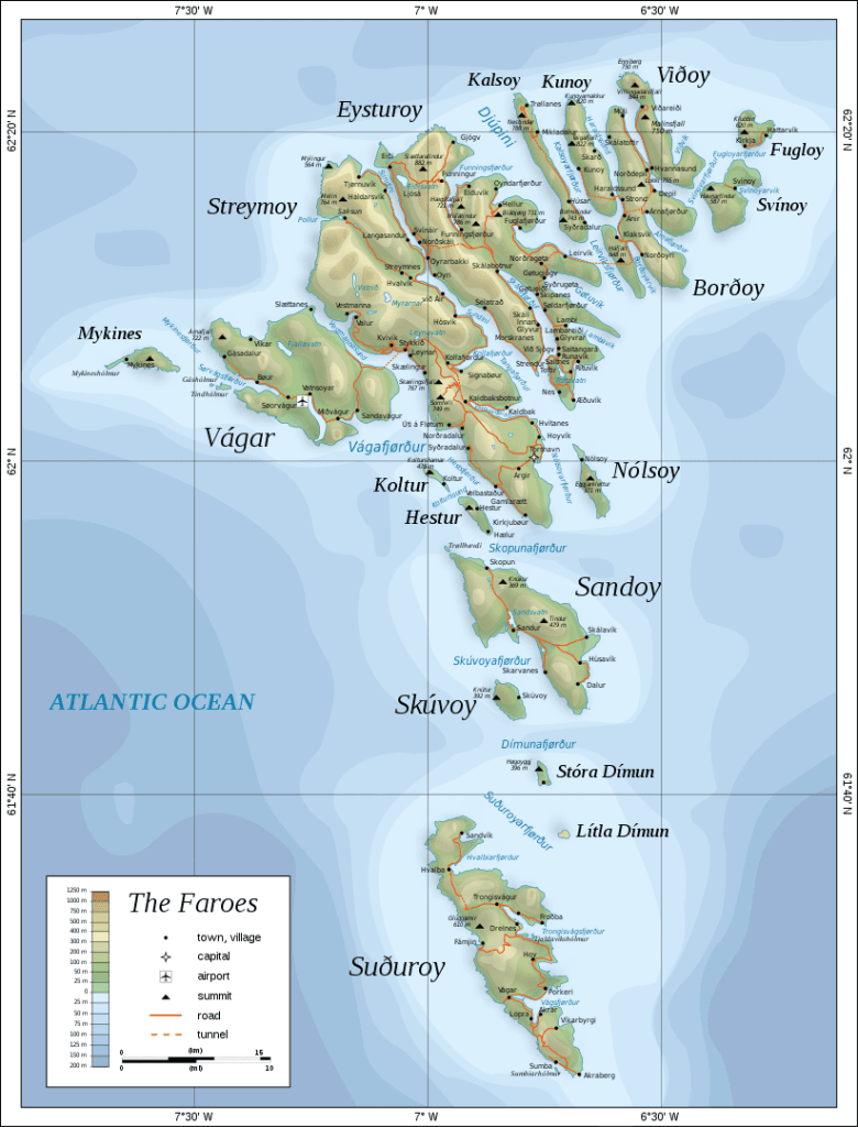 Topographic map of the Faroe Islands