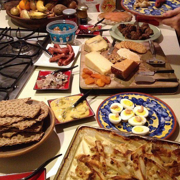 A traditional Swedish  smörgåsbord