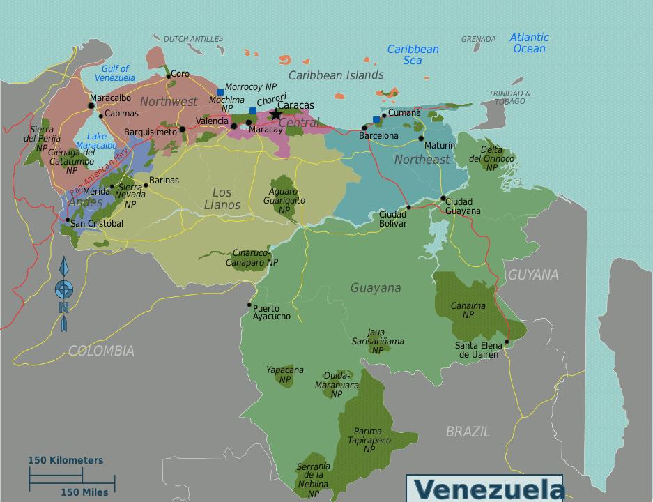 Venezuela regions map