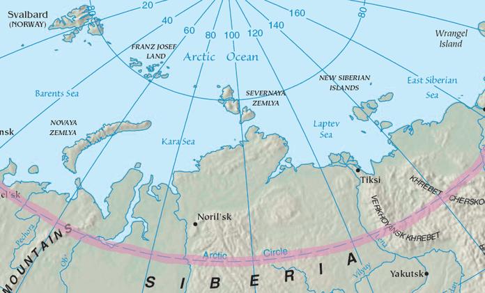 The Arctic Circle runs through Russia.