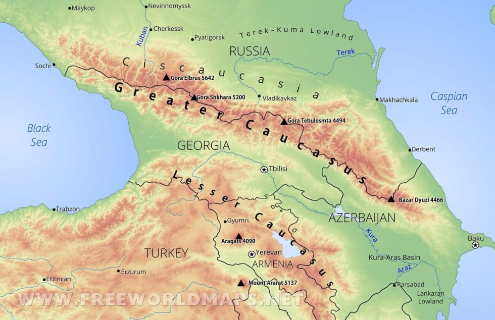Notice how the Caucasus Mountains create a border for Russia.