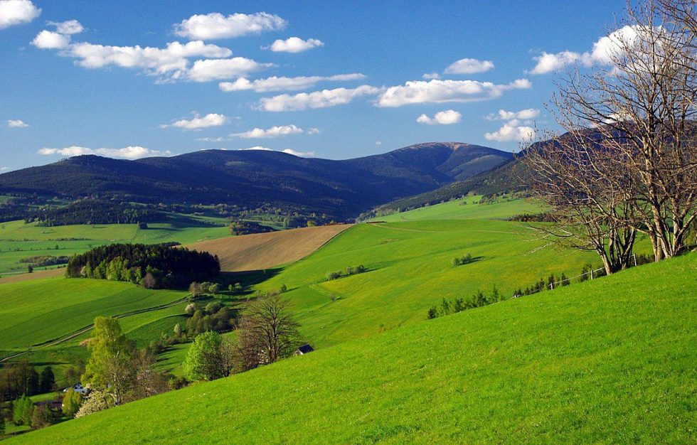 The Czech countryside has rolling hills and low mountains in the north.