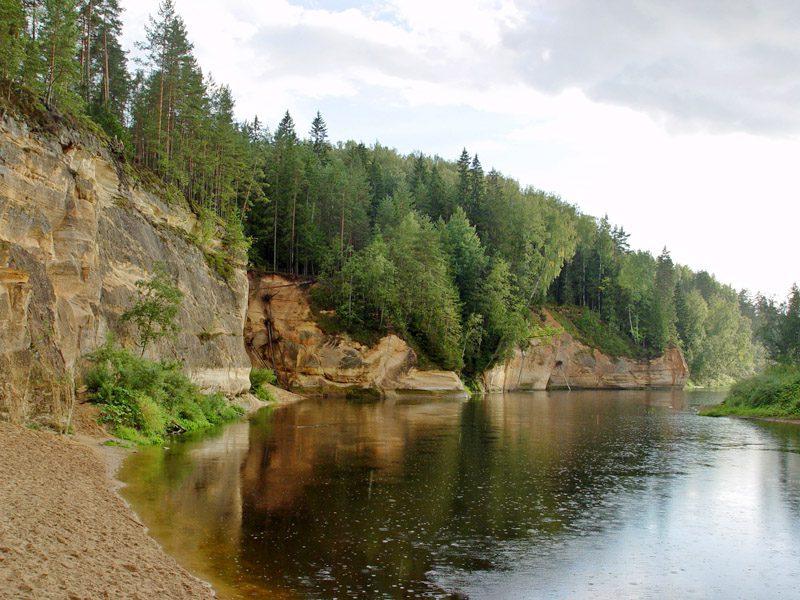 Devonian sandstone cliffs - Ergelu Cliffs at Gauja River, Latvia