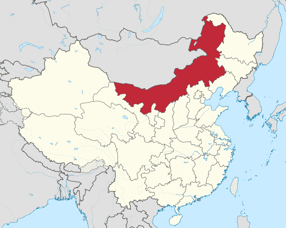 A map showing Inner Mongolia (in red)