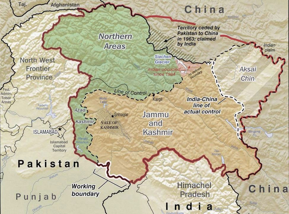 Pakistan controls the northern areas, India controls Jammu and Kashmir, and China controls the eastern portion, labeled Aksai Chin on this map.