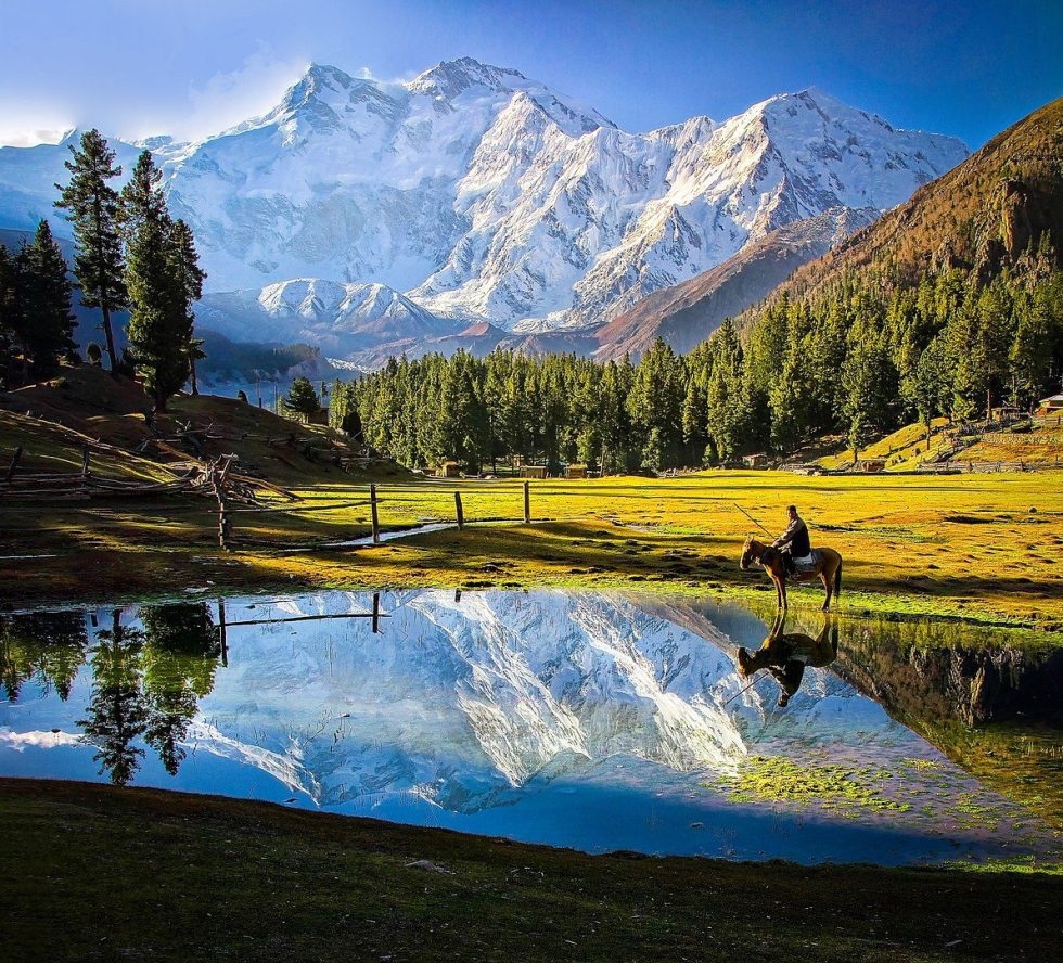Nanga Parbat is the ninth highest mountain in the world at 8,126 meters above sea level. It is the western anchor of the Himalayas around which the Indus river skirts into the plains of Pakistan.