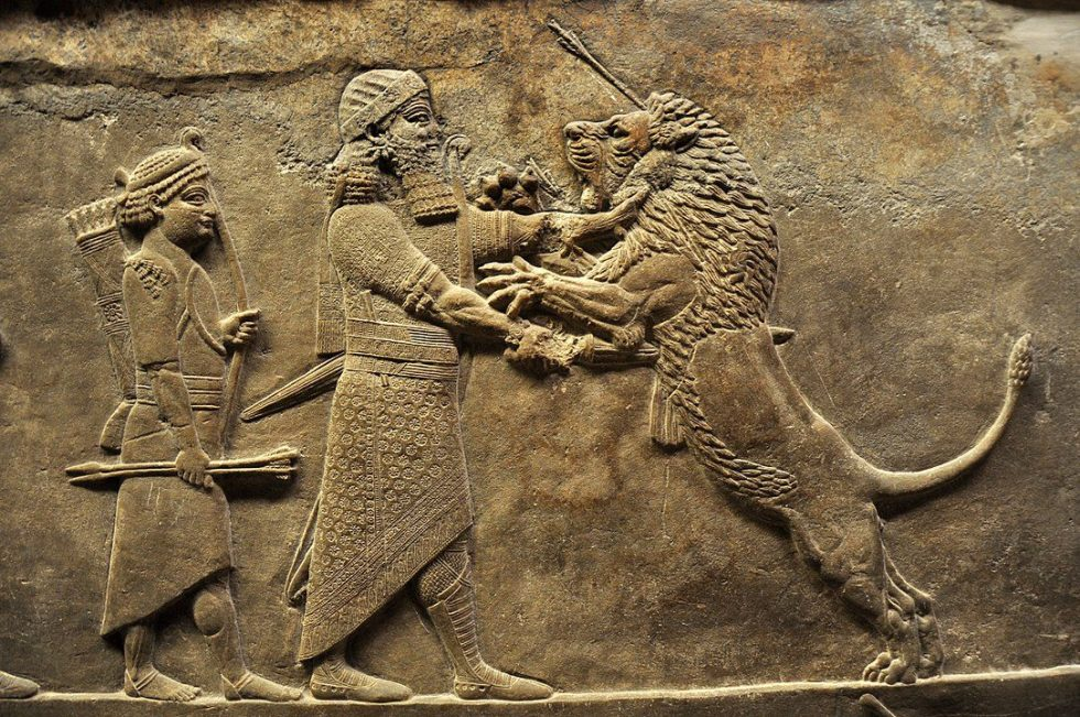 Relief showing a lion hunt, from the north palace of Nineveh, 645–635 BC
