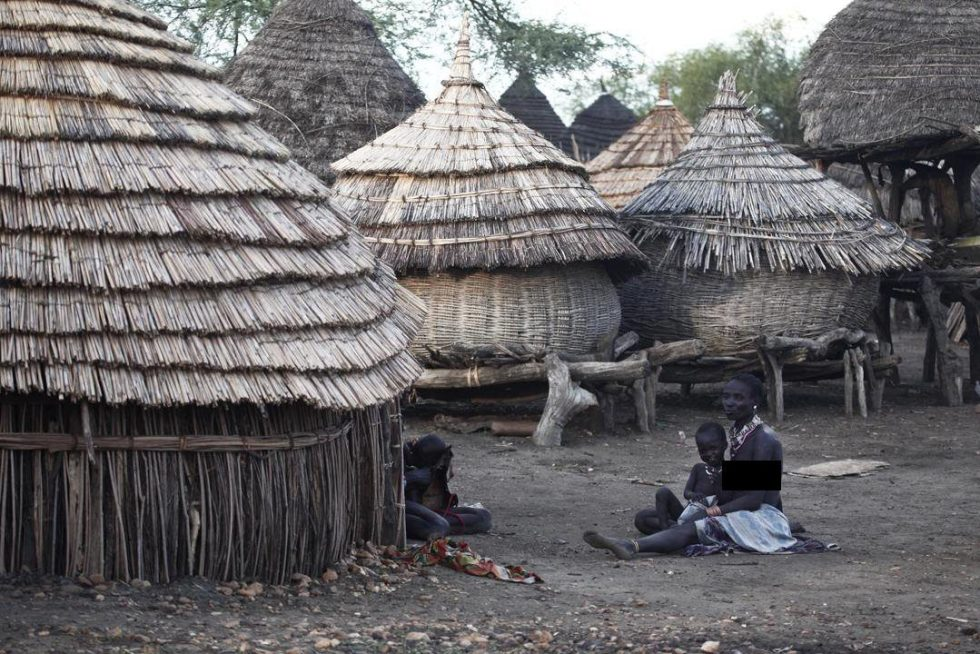 A traditional village in South Sudan