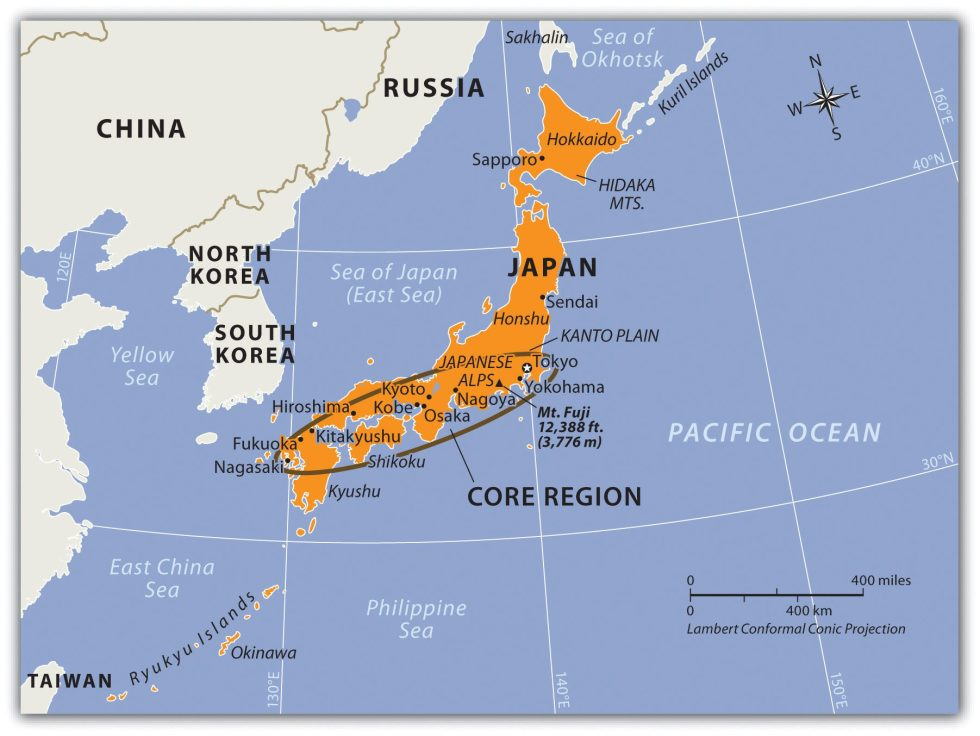 Japan's Four Main Islands and Its Core Urban and Industrial Areas