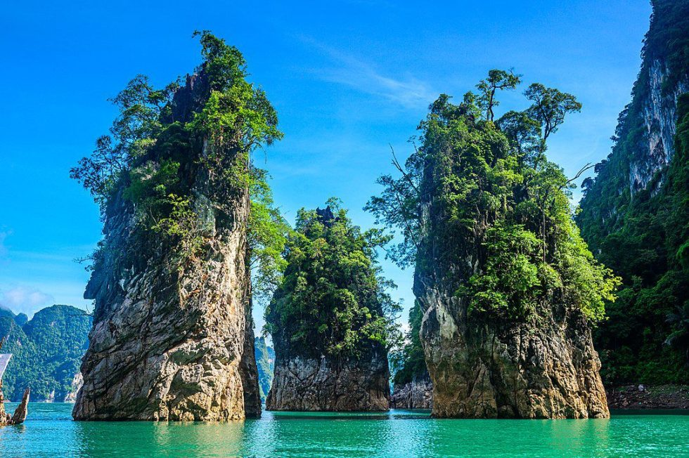 Typical jagged limestone cliffs in southern of Thailand