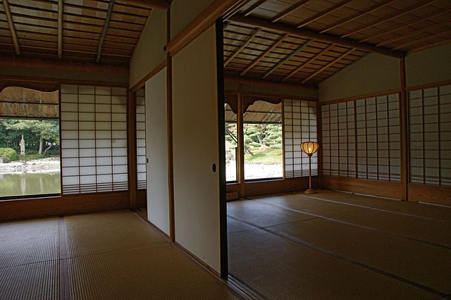 Tatami mats are a type of flooring made from woven soft rush straw.