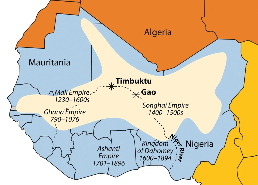 The Niger River and the main empires of West Africa are indicated on this map. The shaded region indicates the furthest expanse of the Songhai Empire at its peak in the sixteenth century.