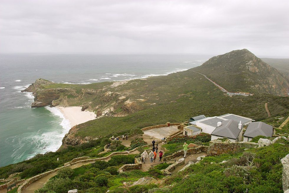 A view towards Cape of Good Hope from the Cape Point. Cape Peninsula, South Africa.