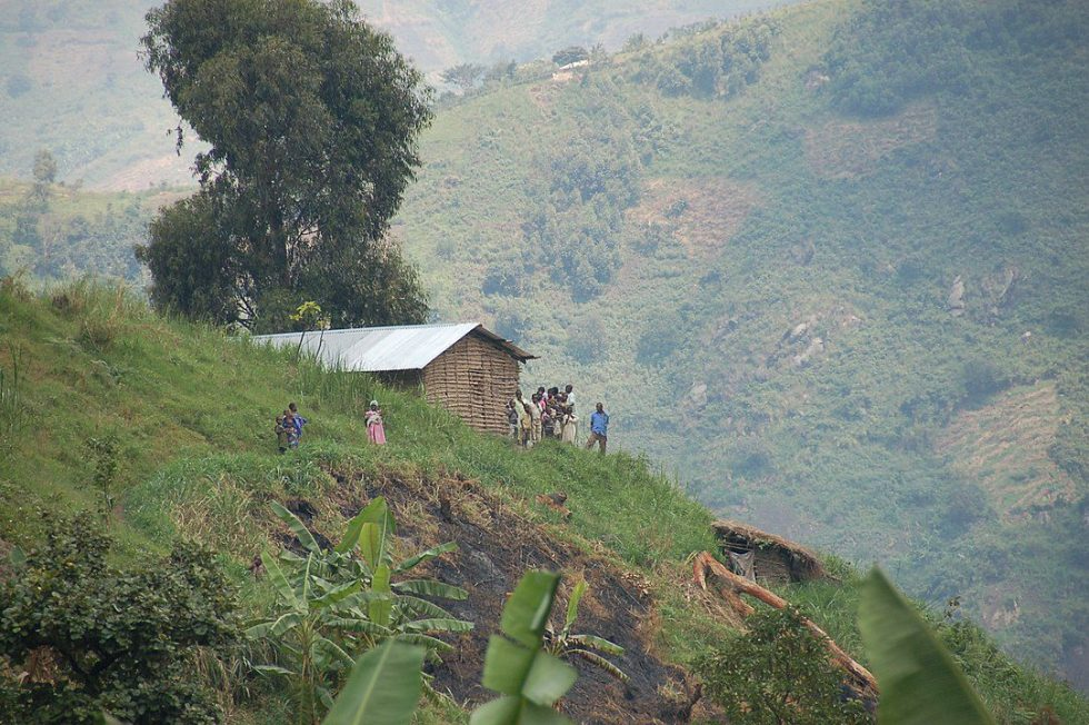 House and people in the Rwenzori Mountains, Kasese District, Uganda