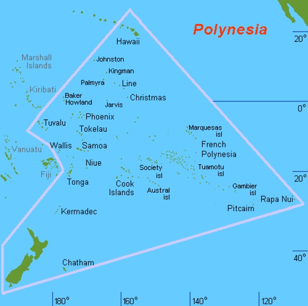 Polynesia includes New Zealand.