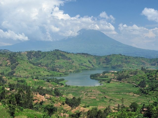 View of northwestern Rwanda in the Virunga Mountains