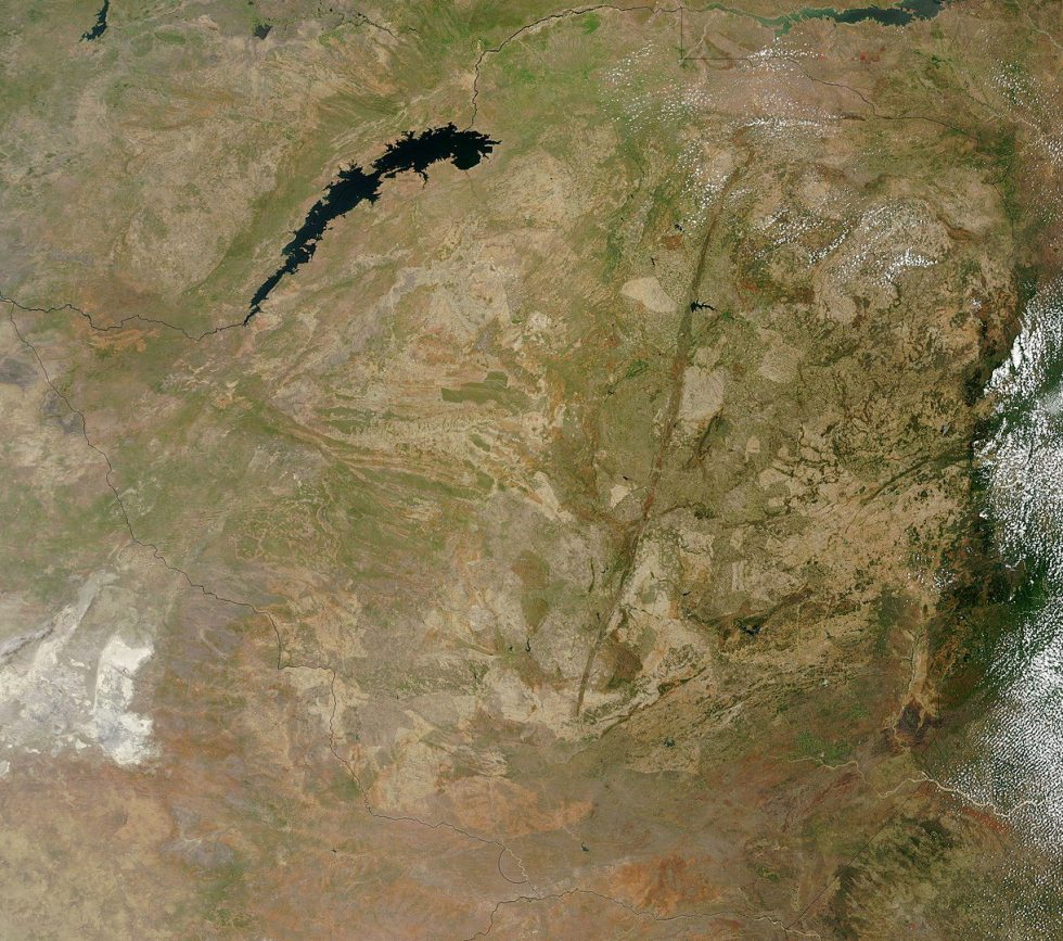 This satellite image shows the geological formation called the Great Dyke. It looks like a line extending from the north-east to the south-west.