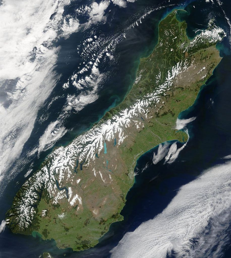Snow highlights the Southern Alps in this satellite image.