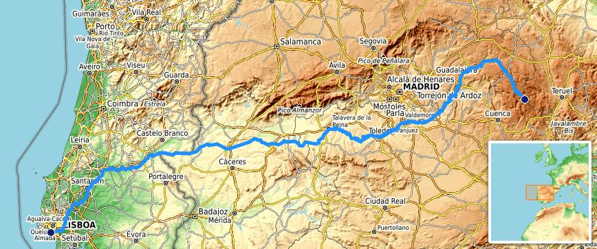 The Tagus River runs through Spain and then through Portugal.