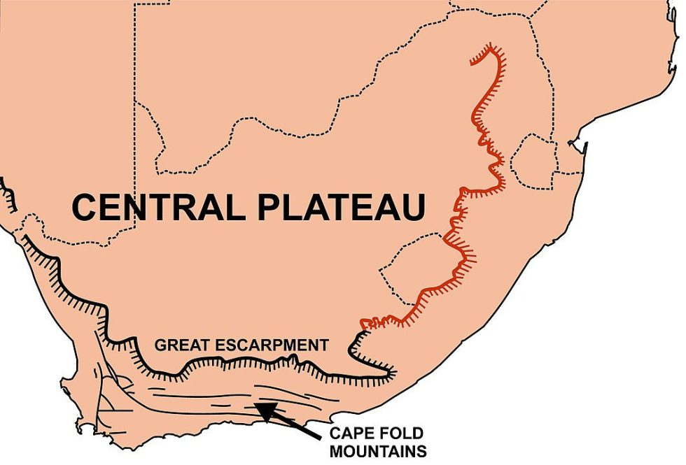 """The Southern African Central Plateau, surrounded by the Great Escarpment. The portion of the Escarpment colored in red is called the """"Drakensberg."""""""