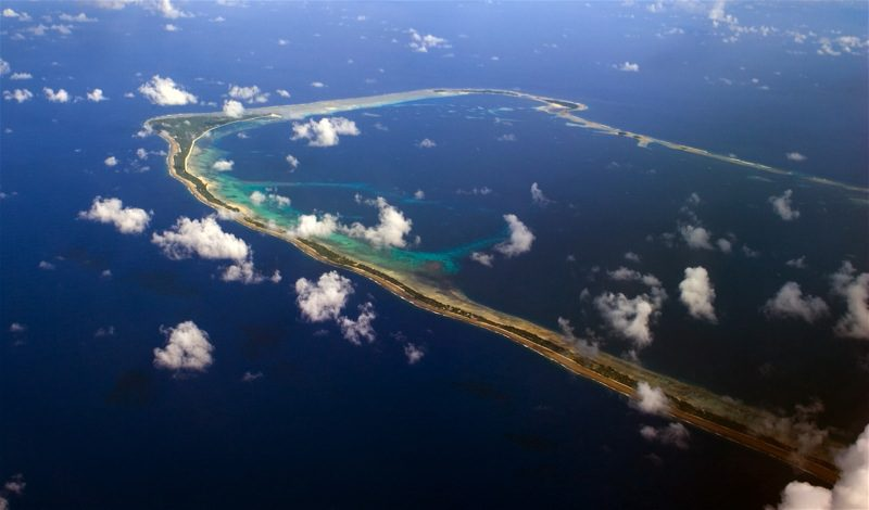 Aerial view of Majuro, one of the many atolls that make up the Marshall Islands