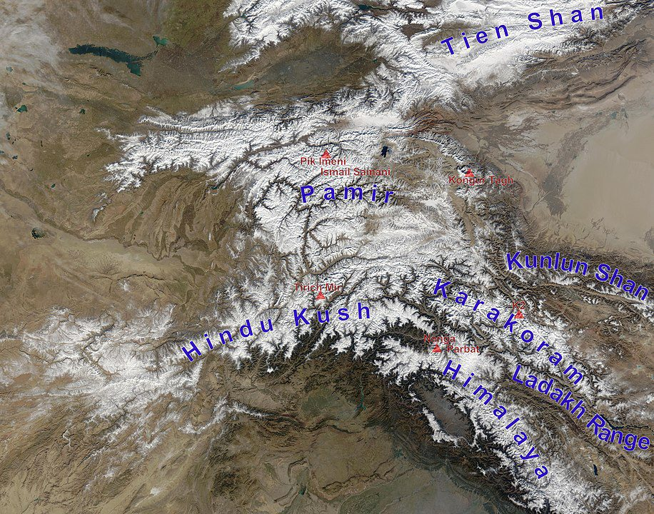 Mountains clustering around Tajikistan, Kyrgyzstan, Afghanistan and China
