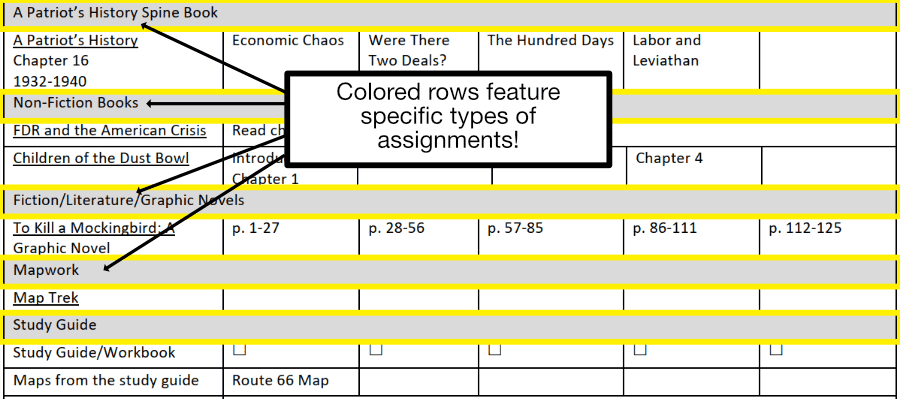 Colored rows in the Guest Hollow schedule feature specific types of assignments.