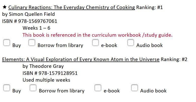 Homeschool chemistry curriculum book list sample