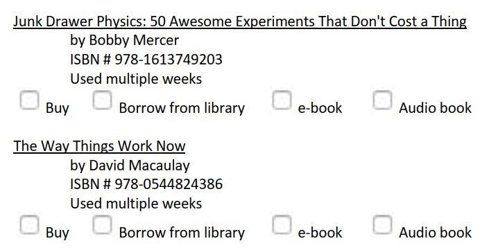 Homeschool physics curriculum book list sample